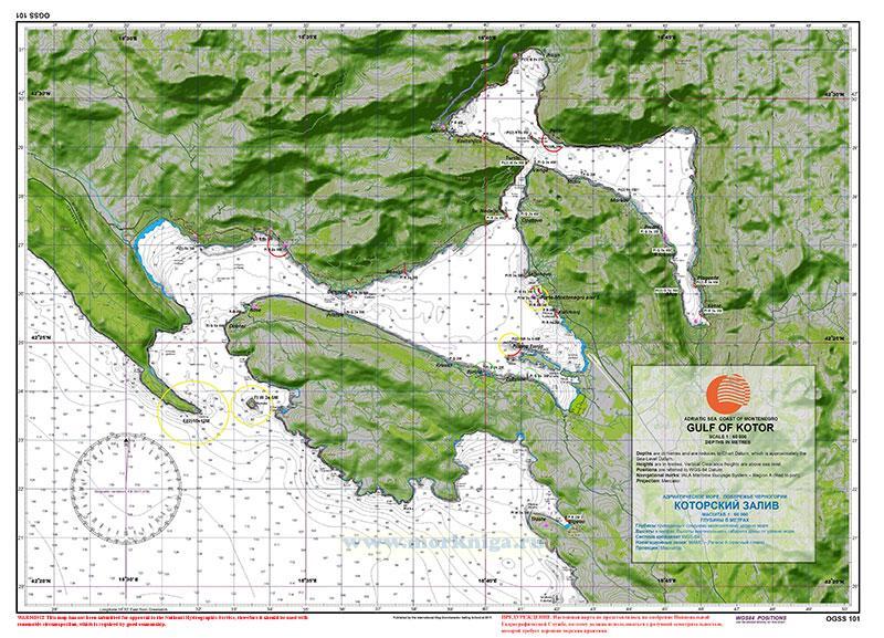 Карта Которского залива Адриатического моря  побережья Черногории. Gulf of Kotor 1:60000