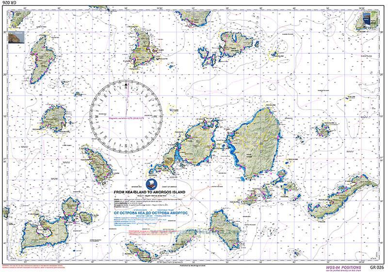 GR 026 От острова Кеа до острова Аморгос. From Kia island Tо Amorgos island 1:200000