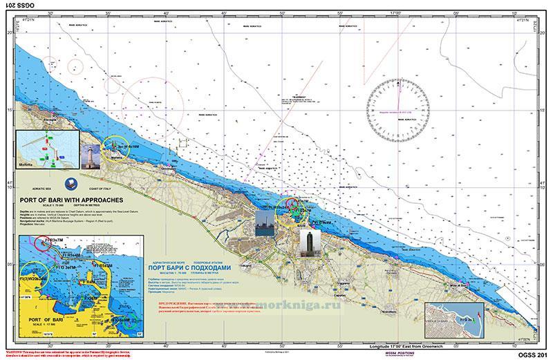 ITA 201 Побережье Италии. Порт Бари с подходами. Port of Bari with approaches 1:70000