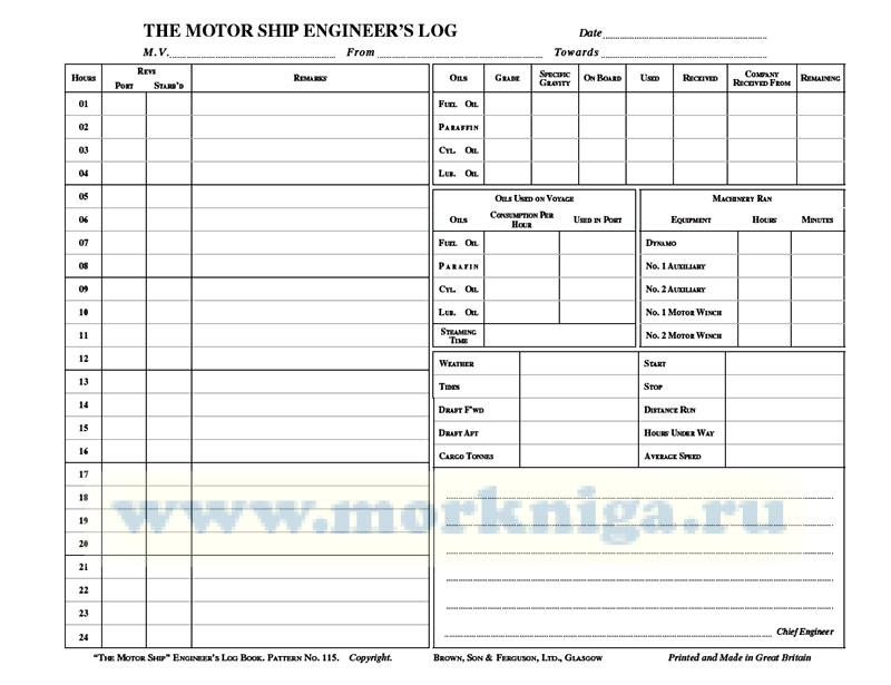 Motorship Log Book for Chief Engineers (3 month edition)