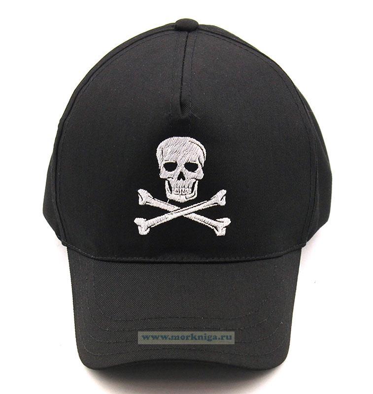 Бейсболка с черепом и костями (черная)