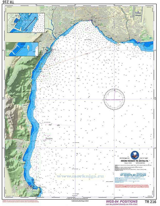 TR 216 Карта побережья Турции от Кемера до Анталии. From Kemer to Antalya 1:50000