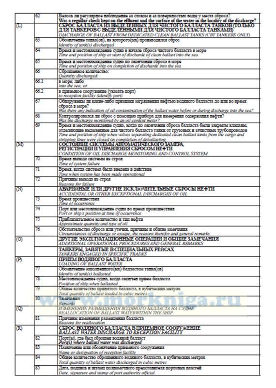 Журнал нефтяных операций. Часть 2. Грузовые и балластные операции (для нефтяных танкеров)/Oil Record Book. Part 2. Cargo/ballast Operation (Oil tankers)