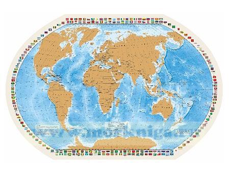Карта мира со стирающимся слоем, в прозрачном пластиковом тубусе, 90x58 см