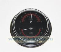 Термометр-гигрометр (черный циферблат, полированная и хромированная латунь) 120*95*40мм