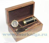 Морской набор - подзорная труба, лупа и компас (шкатулка прилагается как дополнение)