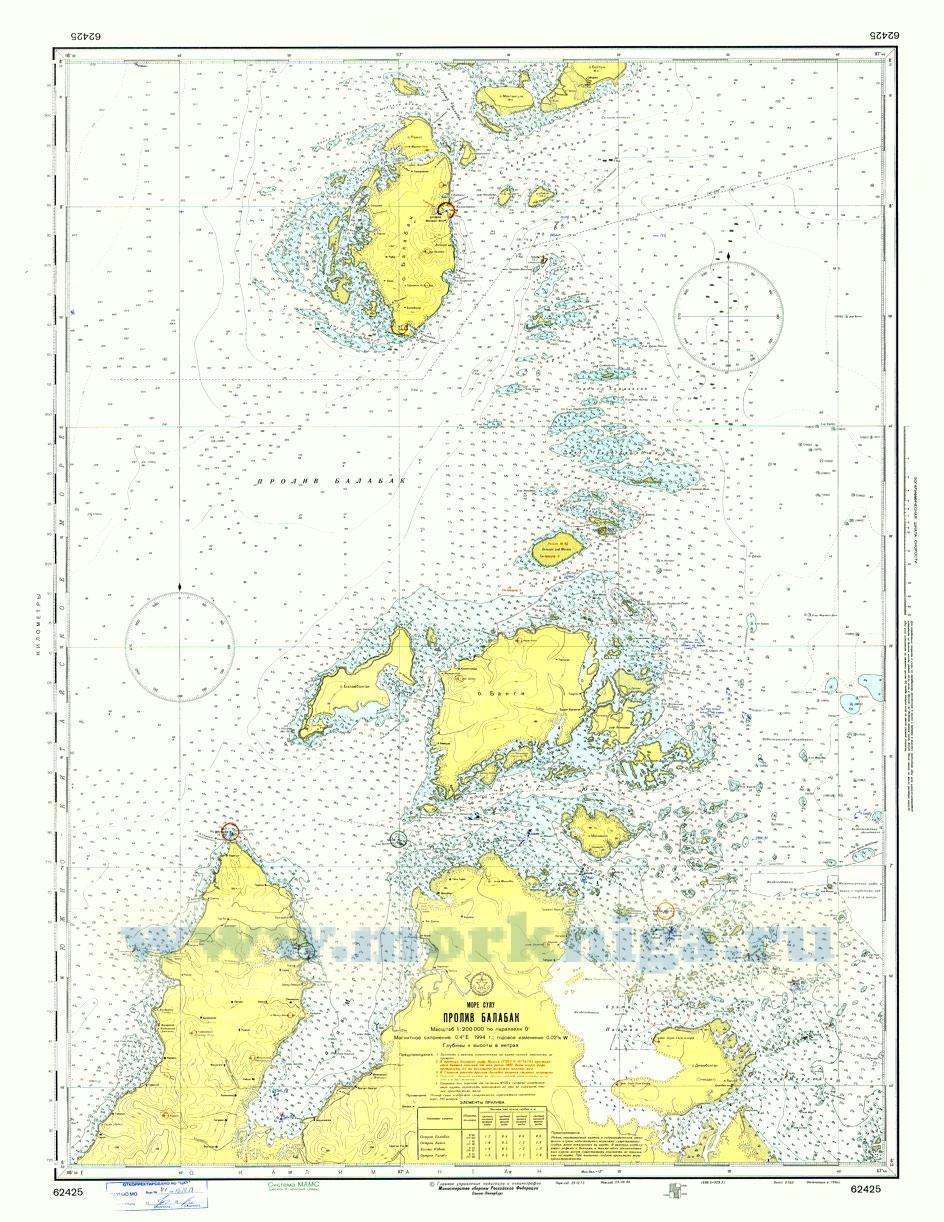 62425 Пролив Балабак (Масштаб 1:200 000)