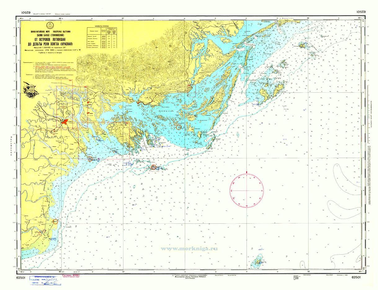 62501 От островов Лотюкшан до дельты реки Хонгха (Красная) (Масштаб 1:200 000)