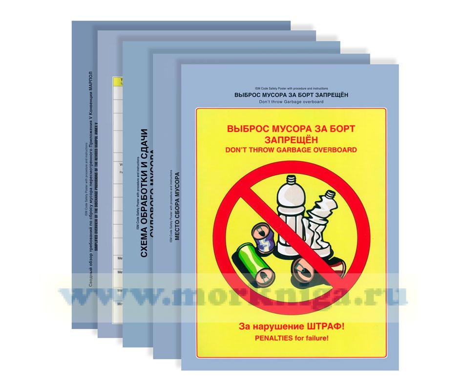 Комплект плакатов по предотвращению загрязнения мусором с судов