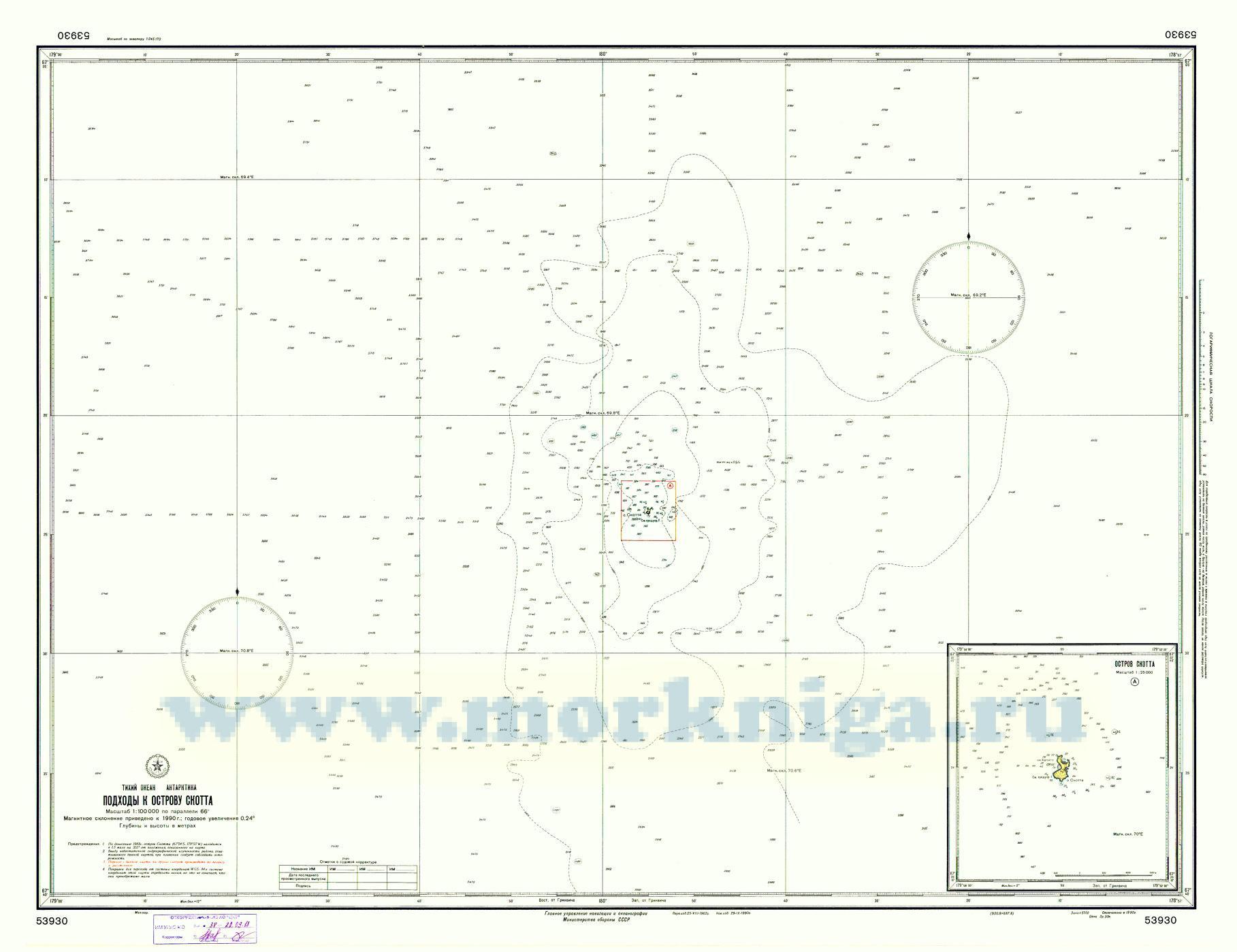 53930 Подходы к острову Скотта (Масштаб 1:100 000)