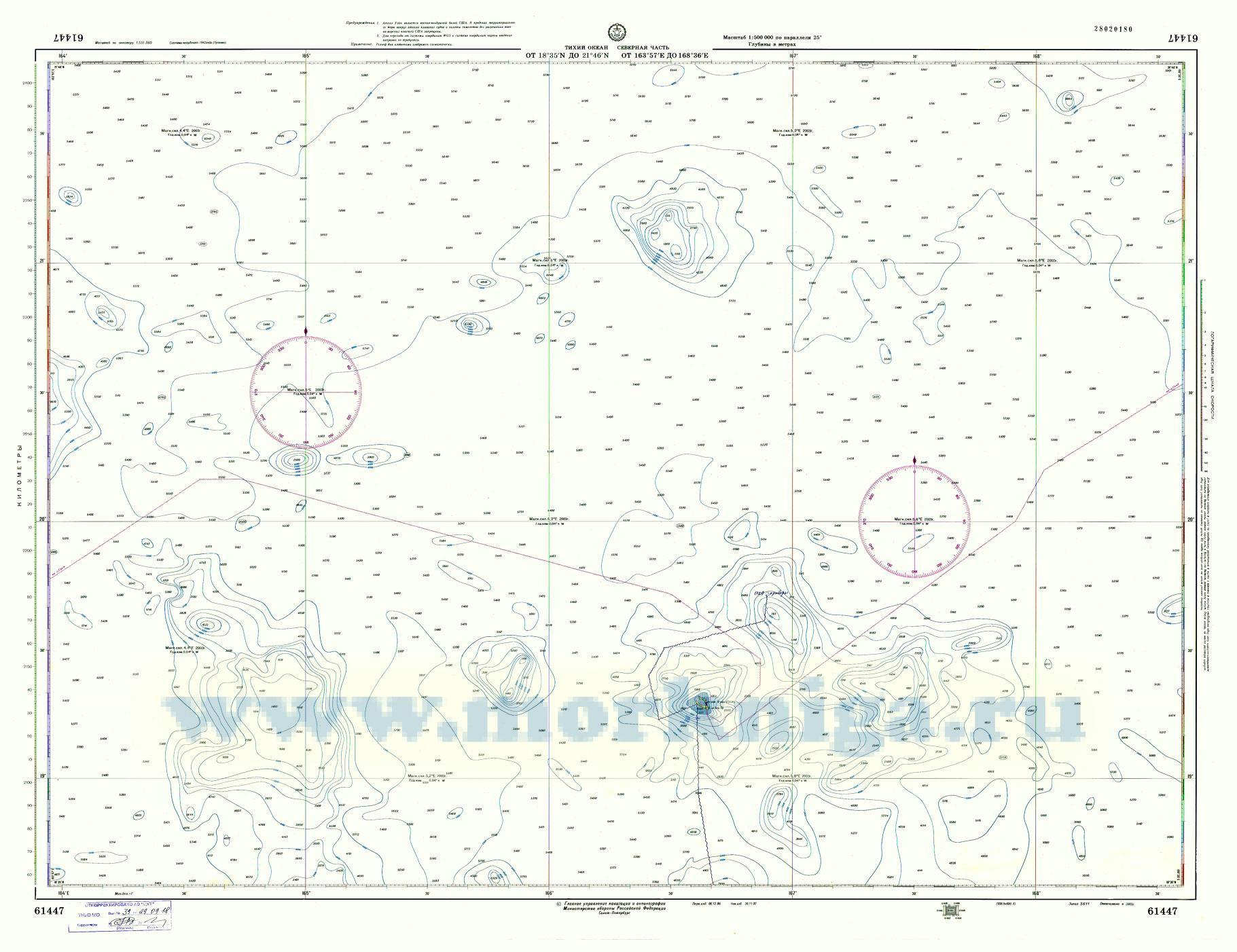 61447 От 18°35'N до 21°46'N, от 163°57'Е до 168°36'Е (Масштаб 1:500 000)