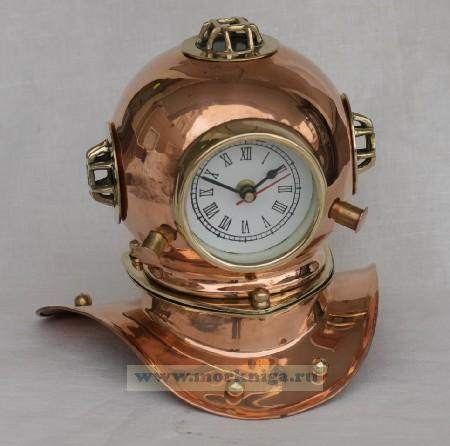 Шлем водолаза с часами медь CL 94049