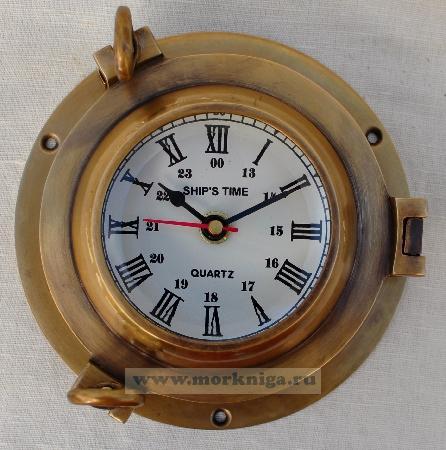 Хронометр морской в иллюминаторе из бронзы и латуни диаметром 5 дюймов