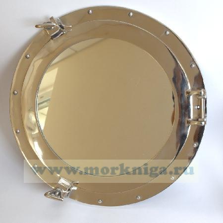 Иллюминатор 18 дюймов с зеркалом никелевый. Диаметр зеркала 30 см