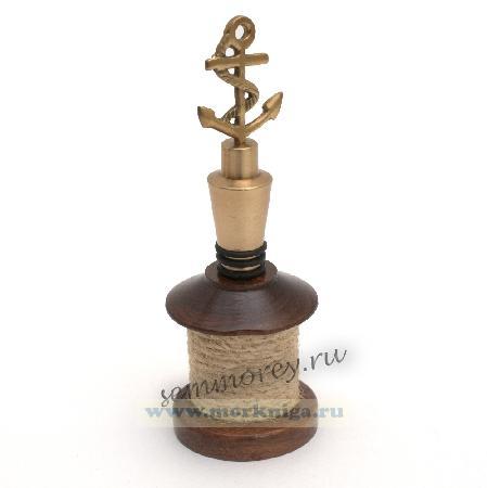 Декоративная пробка-якорь для бутылки в подставке