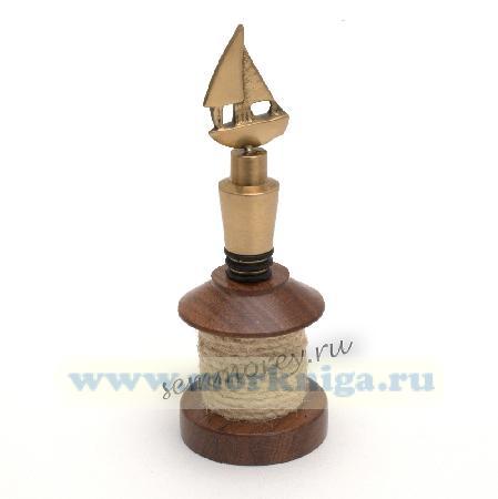 Декоративная пробка-парусник для бутылки в подставке