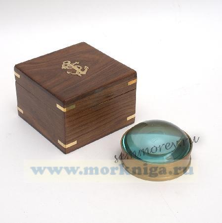 Лупа в бронзовом кольце и шкатулке из красного дерева