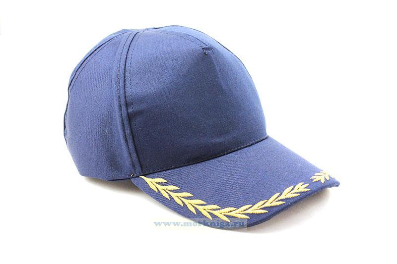Бейсболка с вышивкой колосок (синяя)