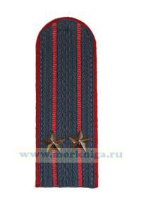 Погоны подполковника МВД (серые, 2 звезды, красный кант, 2 красные полосы, просвет)