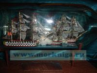 """Корабль в бутылке """"Бой брига """"Меркурий"""" с двумя линейными турецкими кораблями 14 мая 1829 года"""""""