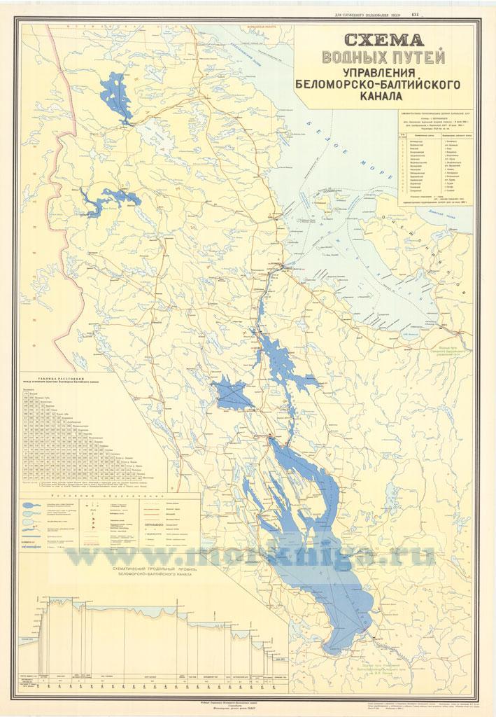 Схема водных путей Управления Беломорско-Балтийского канала