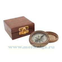 Компас Pocket compass Stanley London 1885 в деревянном футляре