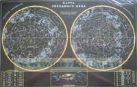 Карта звездного неба с рисунками зодиакальных созвездий (постер, лам.) 90 х57 см