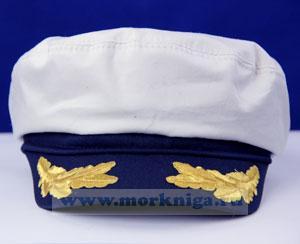 Капитанка белая вышитый козырек