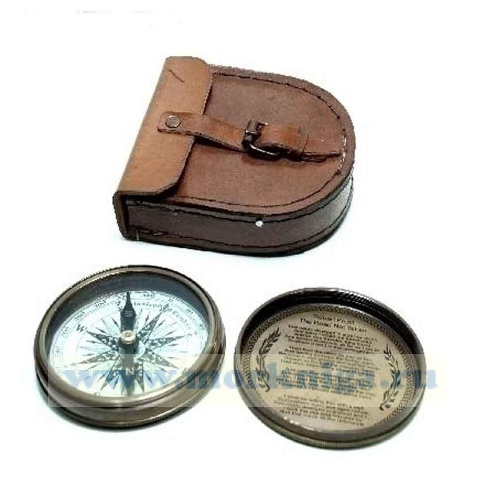 Компас Stanley London 1885 г. в кожаном чехле ручной работы